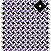 Optical Illusion Purple Black Flag 4. Art Print