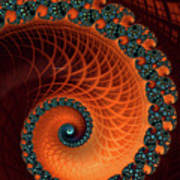 Orange And Aqua Spiral Art Print