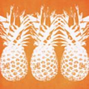 Orange And White Pineapples- Art By Linda Woods Art Print