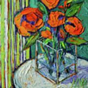 Orange Bloom - Textured Impressionist Palette Knife Oil Painting Mona Edulesco Art Print