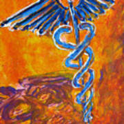 Orange Blue Purple Medical Caduceus Thats Atmospheric And Rising With Mystery Art Print
