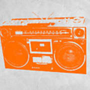 Orange Boombox Art Print by Naxart Studio