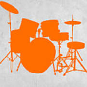 Orange Drum Set Print by Naxart Studio