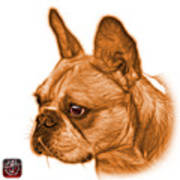 Orange French Bulldog Pop Art - 0755 Wb Art Print