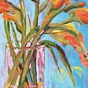 Orange Gladiolus In Vase Art Print