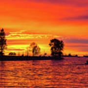 Orange Glow Sunset At Sunset Beach In Vancouver Bc Art Print