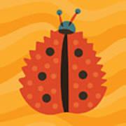 Orange Ladybug Masked As Autumn Leaf Art Print
