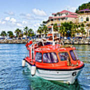 Orange Lifeboats Across Colorful Bay Art Print