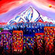 Orange Moon Over Mount Hood #1 Art Print