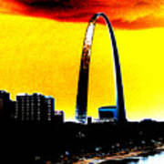 Orange Skies And The Arch Art Print