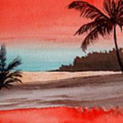Orange Sky Of Kauai Art Print