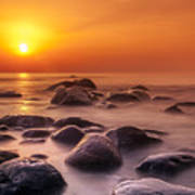 Orange Sunset Long Exposure Over Sea And Rocks Art Print
