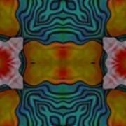 Orange Turquoise Floral Gem Art Print