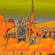 Orange Version Of Notre Dame Art Print