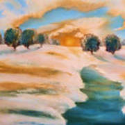 Oranges In The Snow-landscape Painting By V.kelly Print by Valerie Anne Kelly
