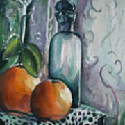 Oranges With Blue Bottle Art Print