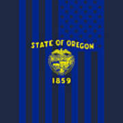 Oregon State Flag Graphic Usa Styling Art Print