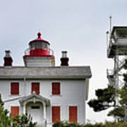 Oregon's Seacoast Lighthouses - Yaquina Bay Lighthouse - Old And New Art Print by Christine Till