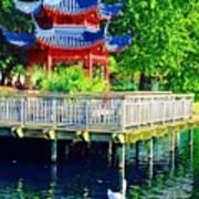 Orient Swan Pagoda Art Print