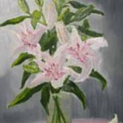 Oriental Lilies In White And Pink Art Print