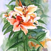 Oriental Lilies Art Print