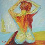 Original Abstract Oil Painting Female Nude Girl On Canvas#16-2-5-06 Art Print
