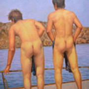 Original Oil Painting Art Male Nude Gay Interest Boy Man On Linen#16-2-5-12 Art Print