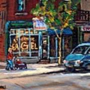 Original Art For Sale Montreal Petits Formats A Vendre Boulangerie St.viateur Bagel Paintings  Art Print