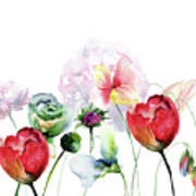 Original Floral Background With Flowers Art Print
