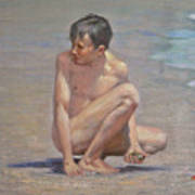 Original Oil Painting Art Male Nude Gay Boy On Linen#16-2-5-09 Art Print