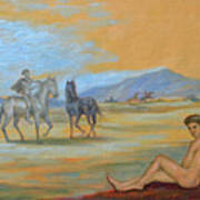 Original Oil Painting Art Male Nude With Horses On Canvas #16-2-5 Art Print