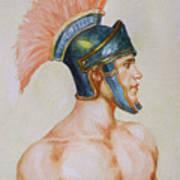Original Watercolour Painting Art Male Nude Portrait Of General  On Paper #16-3-4-19 Art Print