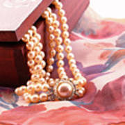 Ornate Box Carved And Pearl Necklace Detail Art Print