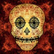 Ornate Floral Sugar Skull Art Print