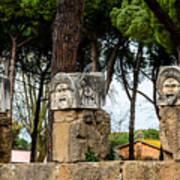 Ostia Antica - Theatre Marble Masks Art Print