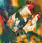 Our Neighbors Roosters Art Print
