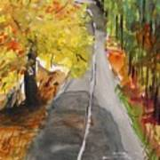 Our Road With Yellow Maple Art Print
