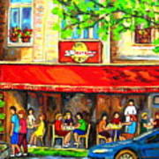 Outdoor Cafe On St. Denis In Montreal Art Print