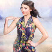 Outdoor Fashion Portrait. Spring Twilight Beauty Art Print