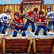 Pointe St Charles Hockey Rink Painting Leafs Vs Habs Quebec Winter Scene Hockey Art Carole Spandau Art Print