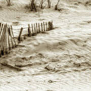 Outer Banks Beach Sand Fence  Art Print