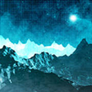 Outer Space Mountains Art Print