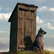 Outhouse Guardian - German Shepherd Version Art Print