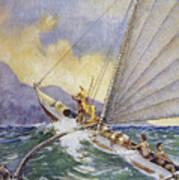 Outrigger At Sea Art Print