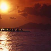 Outrigger Canoe At Sunset Art Print