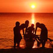 Outrigger Sunset Silhouet Art Print