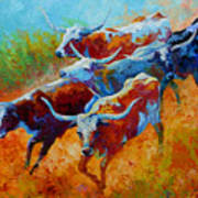 Over The Ridge - Longhorns Art Print