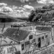 Over The Rooftops At Portree In Greyscale 2 Art Print