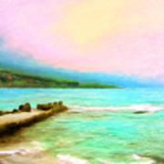 Overcast Sunset At Napoopoo Beach Park Art Print