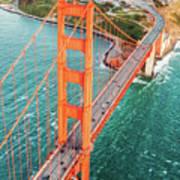 Overhead Aerial Of Golden Gate Bridge, San Francisco, Usa Art Print